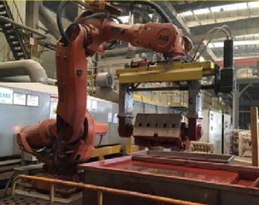 机器人自动砂芯浸涂及淋涂